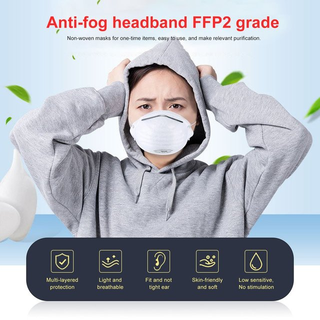 1/5/10pcs Anti-fog headband FFP2 grade round mask non-woven Dust Mask Anti-Haze Flu, Anti-PM2.5 Protective Mask 5