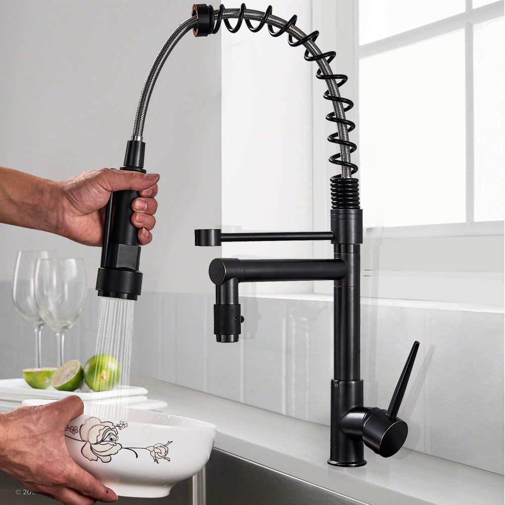 Deck Mounted Black Bathroom Kitchen Faucet Single Lever Hot And Cold Water Tap Dual Swivel Spout Kitchen Mixers Tap One Hole