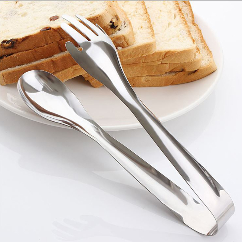 stainless steel food clip spoon fork tongs salad clip party pastry buffet pliers kitchen accessories image