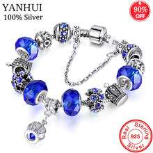 YANHUI Original 925 Silver Crown Pendant Charm Bracelets Female New European Style Crystal Beads Bracelet For Women Jewelry Gift(China)