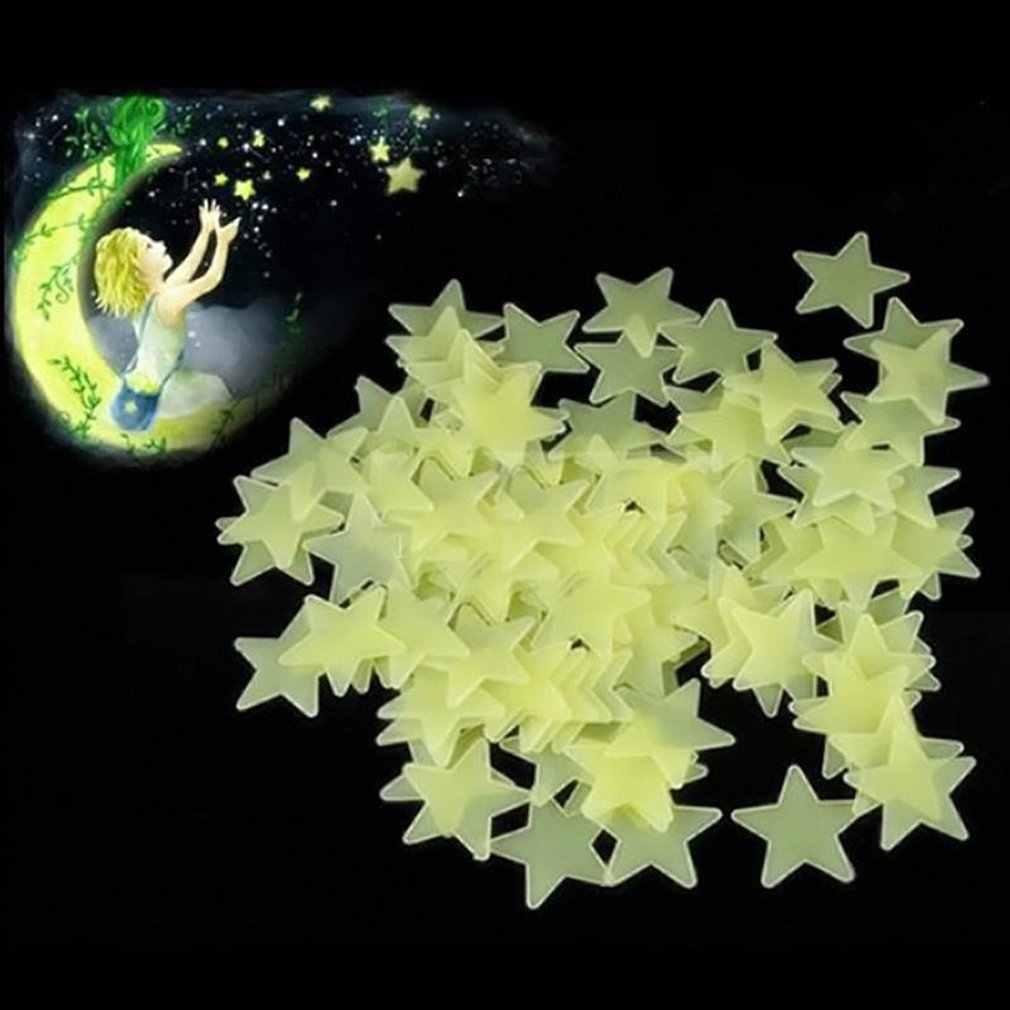 100 sztuk 3CM 3D Luminous naklejka ścienna w kształcie gwiazdy fluorescencyjne dzieci sypialnia sufit domu ciemny naklejka ścienna w kształcie gwiazdy s Festivel Decor