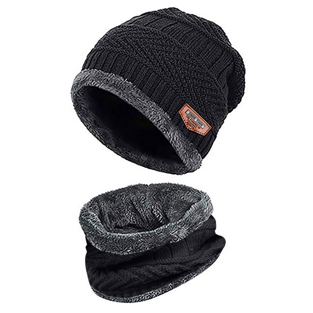 Мужская теплая шапка Skullies+ мягкий шарф, комплект из двух предметов, зимняя утолщенная шапка, Мужская ветрозащитная вязаная шапка, грелка для шеи# T5P - Цвет: Black