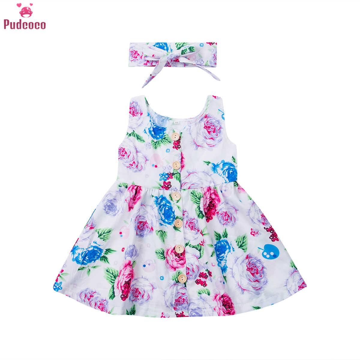 6 M-3 T เด็กวัยหัดเดินเด็กทารกสาวดอกไม้ชุด Match Headband ฤดูร้อนปุ่ม Sundress เด็กทารกเจ้าหญิง Sundress