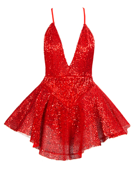Babatique 2020 nuevo rojo blanco negro lentejuelas brillante vestido de fiesta mujeres Vestidos de alta calidad vestido de bola sin espalda Mini Vestidos Sexy