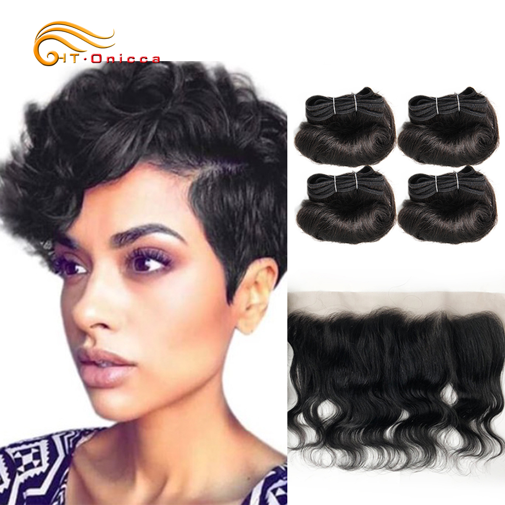 Brazilian Human Hair Bouncy Curly Hair Body Wave Human Hair Bundlles With Frontal Closure Can Be Dyed