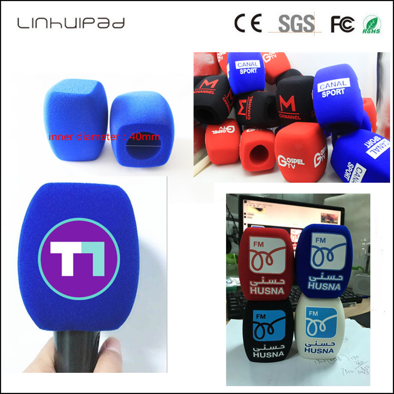 Linhuipad Custom LOGO TV Handheld Interview Microphone Windscreen Windshield Mic Foam Cover