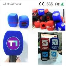 Linhuipad özel LOGO TV el röportaj mikrofon ön cam mikrofon köpük kapağı