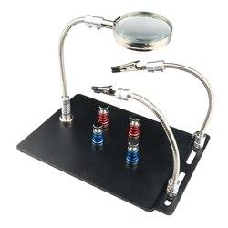 Pomocna dłoń trzecia ręka narzędzia do lutowania elastyczne ramiona ze stali nierdzewnej 360 stopni 3X lampa powiększająca z wytrzymałą podstawą i zgnilizną w Stacje lutownicze od Narzędzia na