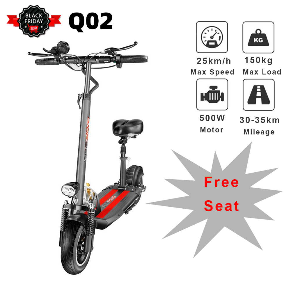 NEW [EU Version] YOUPing Q02 Folding Electric Scooter 500W Motor 48V 18Ah 25km/h 10 Inch Tire 150kg Load Containing Seats