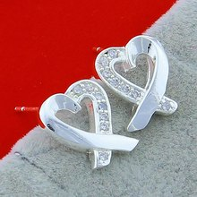 цена на Hot Sale Trendy Women Earring Real 925 Sterling Silver Love Heart Square Cubic Zircon Inlaid Jewelry Earrings for Lady/Girl gift