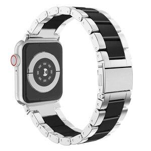 Ремешок из нержавеющей стали и керамики для apple watch series 5/4/3/2/1 iwatch band 44 мм 40 мм 42 мм 38 мм браслет аксессуары для часов