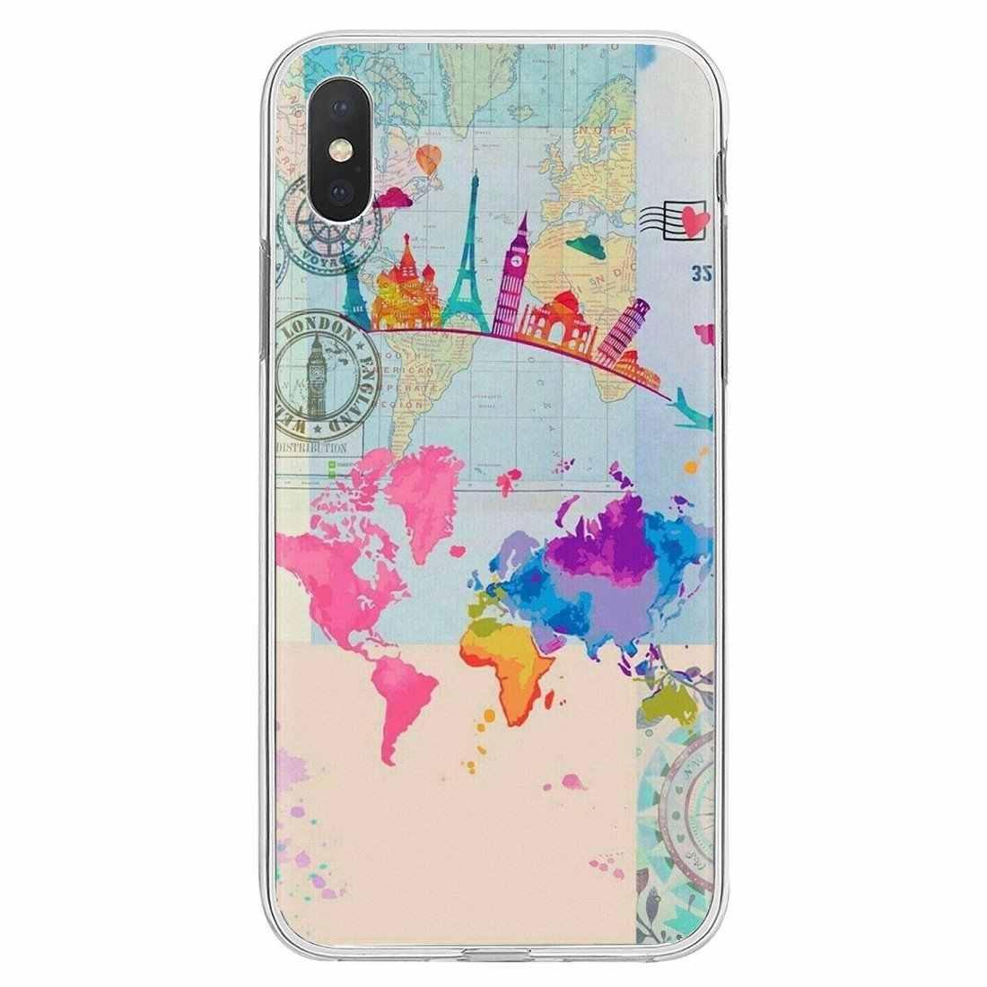 Rosa mapa do mundo caso de telefone silicone inspirador para bq aquaris c u2 u v x2 x lite pro plus e4.5 m4.5 x5 e5 4g m 2017