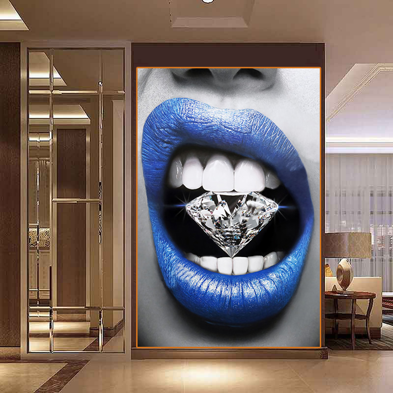 Abstract Canvas Painting Modern Home Wall Decoration Blue Sexy Lips Poster Painting Wall Picture Home Art Living Room Painting Calligraphy Aliexpress