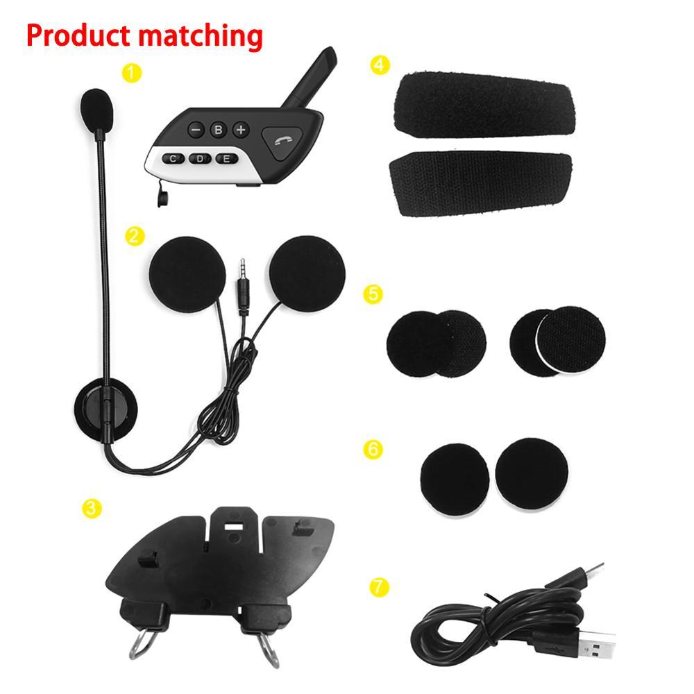 Motorrad M7 Bluetooth Helm Intercom Intercomunicador Multi BT Sprech FM MP3 Moto Freisprecheinrichtung Stereo Headset Kopfhörer