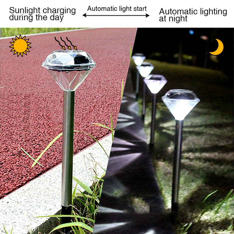 4 Pcs Solar Lawn Light For Garden Decoration Stainless Steel Outdoor Lantern Solar Powered Diamond Stake Lights LED Solar Lamp
