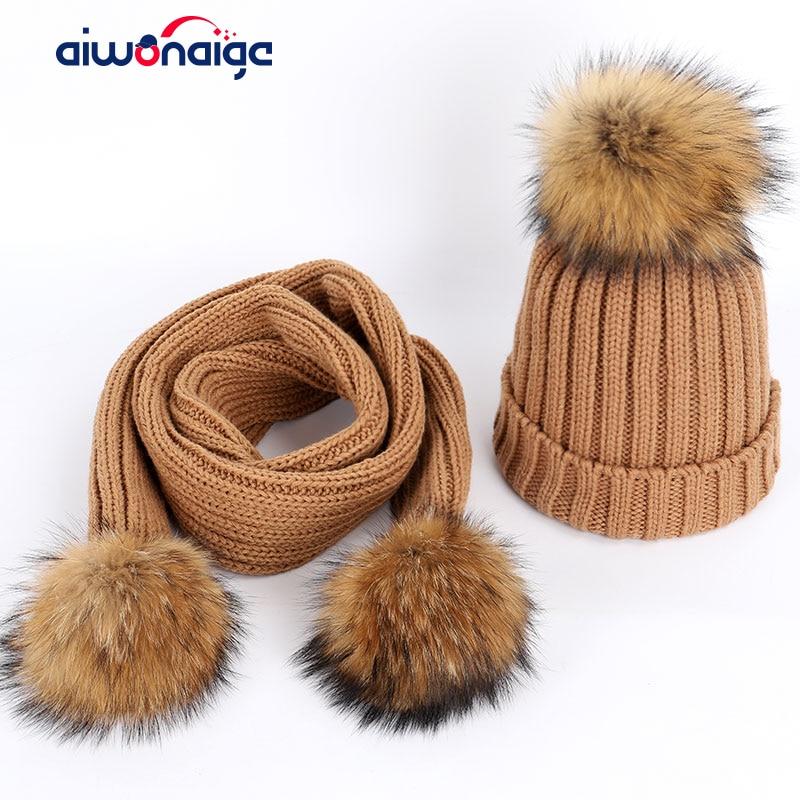 2019 Fashion Ladies Raccoon Fur Pompom Knit Beanies Hat Scarf Sets High Quality Soft Cap Scarves Winter Warm Woman Cotton Baggy