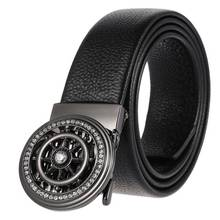 Belts for Men,Leather Ratchet Click Dress Belt with Automatic Slide Buckle Adjustable-35mm Wide Men