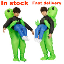 Gonflable Alien Costume vert alien cosplay costumes Costume fête déguisement unisexe cosplay Halloween Costume pour enfants adultes(China)