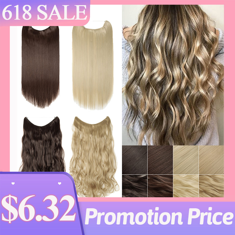 BENEHAIR No Clips in Hair Extension 24'' Hidden Fish Line Hair Invisible Wire Natural Synthetic Hair Hairpieces For Women