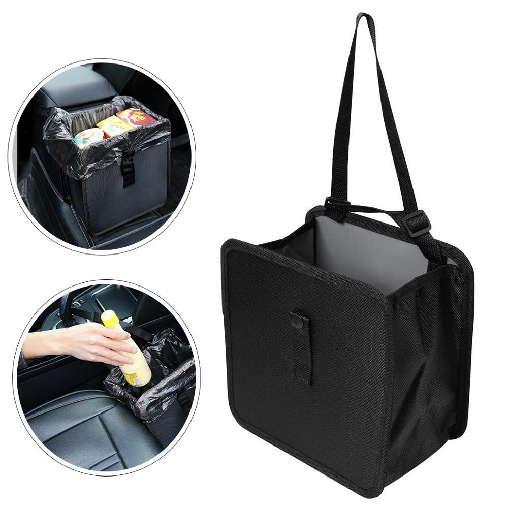Folded Leakproof Car Garbage Organizer Trash Bin Bag With Cover Lid Hanging Traveling Foldable Leak Proof Trash Bag