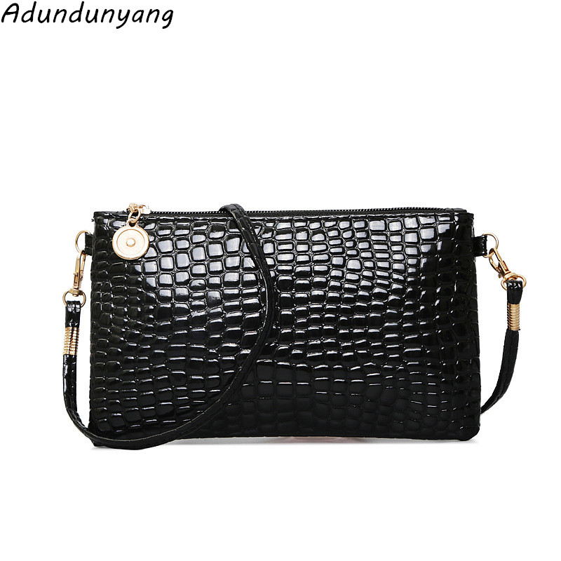 New Crocodile Pattern Women Bag Coin Purse Shoulder Messenger Bag Patent Leather Key Phone Bag