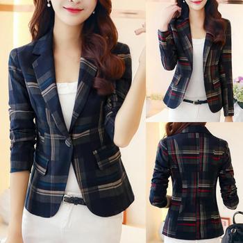 Women Slim Fit Casual Ladies Blazer Business Suit Outwear Women Plaid Print Jacket Suit Long Sleeve Slim AND Fit Blaze Outwear