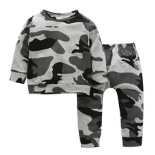 Autumn Winter Boys Sets Warm Long Sleeve Baby Clothing Top Thick Toddler Pants Infant Camouflage Print Clothes for 0-3Y Children children autumn and winter warm clothes boys and girls thick cashmere sweaters