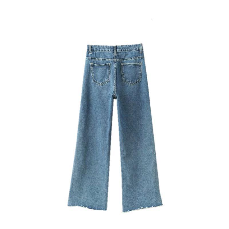 Autumn New High Waist Jeans Women Loose Fit Wide Leg Pants Button Single Breasted Denim Female Trousers Washed Bell Bottom Jeans