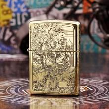 100% Original Brand New ZP Lighter brass carving Revelation Four knights oil Lighter with logo box