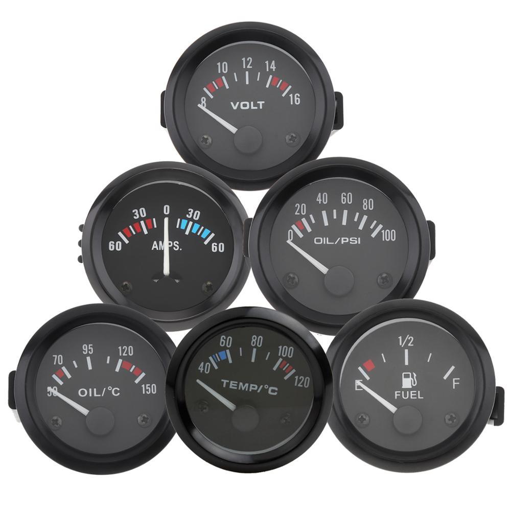 Universal 2 Zoll 52mm Voltmeter Amperemeter Öl Temperatur Druck Wasser Temp Kraftstoffanzeige Volt AMP Meter Auto Auto Instrument