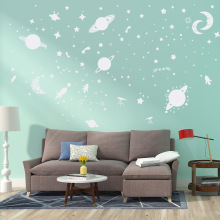 AFG3302 Luminous Stickers Wall Decoration Cosmic Starry Night Moon Paste