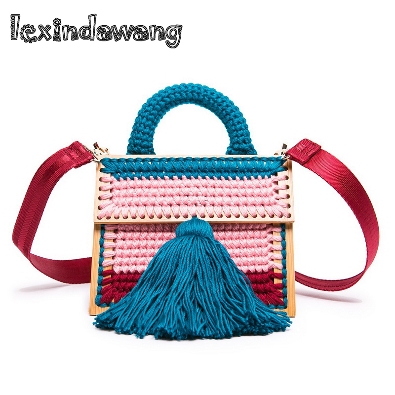 Acrylic Woolen Wool Knitting Handbag Lady Luxury Hand-woven Portable Purses Tassel Brand Designer Winter Tote Messenger Bag Fur