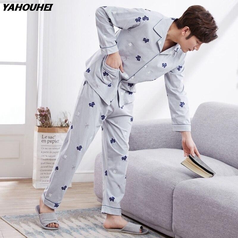 100% Cotton Cardigan Pajama Sets For Men 2018 Autumn Winter Long Sleeve Print Pyjama Sleepwear Male Lounge Homewear Home Clothes