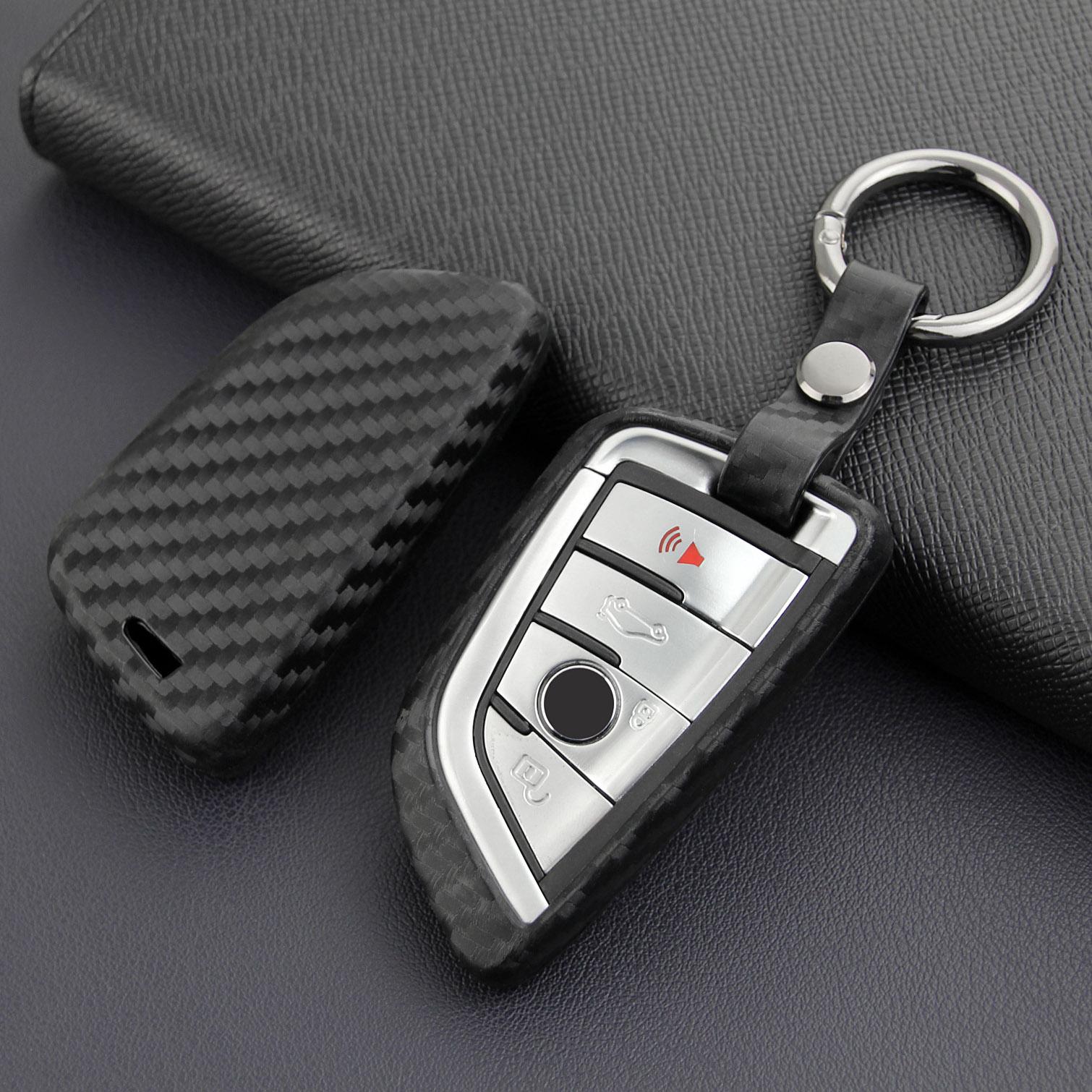 Carbon Fiber Look Car Key Case Cover Keychain Fob For BMW 5 6 7 Series GT M5 X1 X3 X5 X6 F45 G30 G32 G11 F90 F48 G01 F15 F16