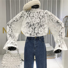 Lace Blouse Women 2020 Spring New Stand Collar Palace Lace Doll Shirt Women's Crochet Hollow Transparent Lace Shirt Basic Top(China)