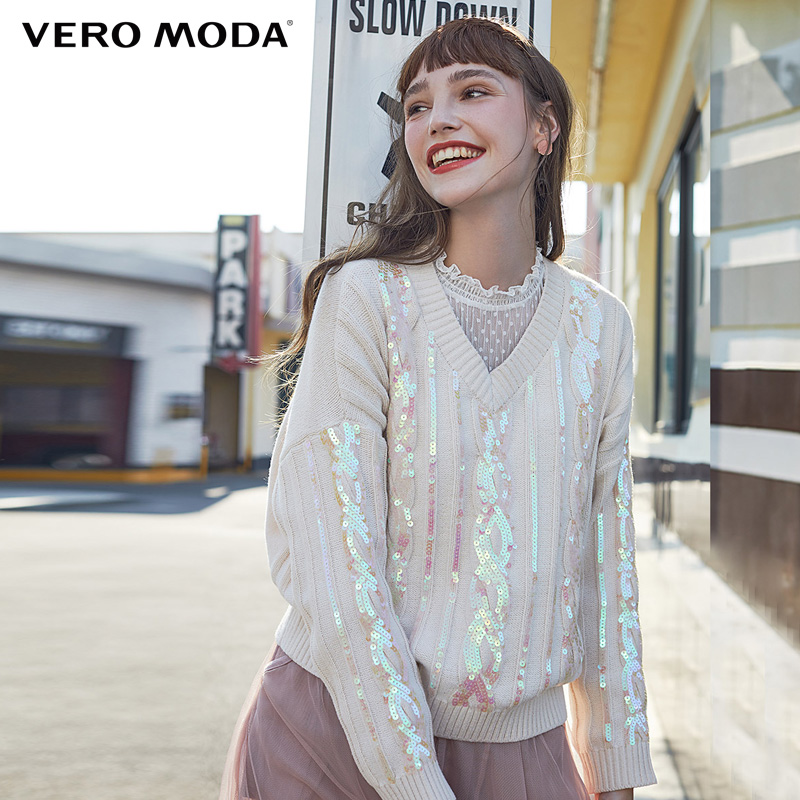Vero Moda  Loose Fit V-neckline Drop-shoulder Paillette Sweater   319424517