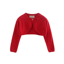 Bow Red Baby Girls Cardigans Sweater Jacket Baby Girl Coat of 1 2 3 4 Years Old Outcoat Shawl Baby Clothes OKC195109