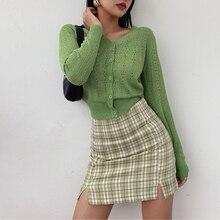2020 spring summer new French retro high waist plaid side split skirt skirt Style Women mini skirt with split details for women