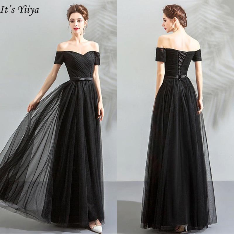 C'est YiiYa robes De bal 2019 col bateau manches courtes robes femmes soirée crêpe étage longueur Vestidos De Gala LX1151