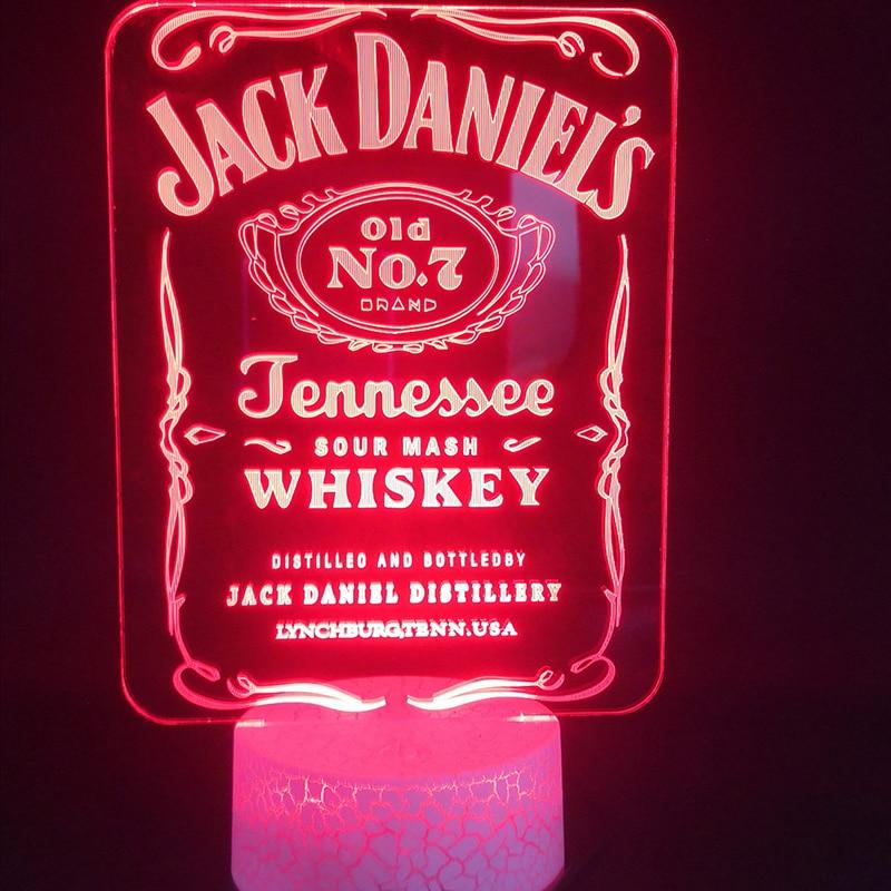 3D лампа для внешнего вина с сенсорным датчиком Jack Daniel, лучший подарок для взрослых, для украшения дня рождения, Прямая поставка, светодиодны...
