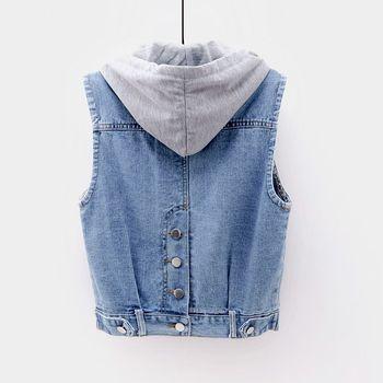 цена New Hooded Cowboy  Sleeveless Fashion Casual Jean Jacket for 2019 vest women онлайн в 2017 году