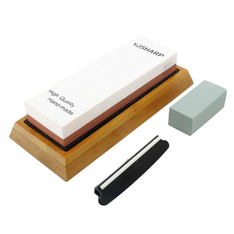 Premium <font><b>Whetstone</b></font> Knife Sharpening Stone 2 Side Grit <font><b>1000/6000</b></font> Waterstone Sharpener With NonSlip Bamboo Base and Angle Guide h2 image