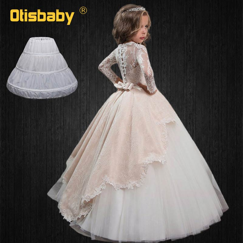 New Floor Length Kids Long Sleeve Lace Floral Wedding Evening <font><b>Dresses</b></font> for Girls <font><b>Birthday</b></font> Party Ball Gown Princess Ceremony <font><b>Dress</b></font> image