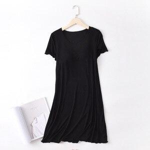Image 2 - SIDDONS קיץ כותנות לילה כותנה O צוואר נשים Sleepdress עם כרית שד Nightwear שינה טרקלין כותונת בית שמלה בתוספת גודל