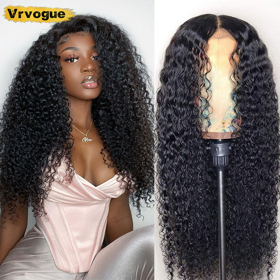 30 Inch Closure Wig Brazilian Remy Kinky Curly 4x4 Human Hair Wigs For Black Women Pre Plucked 150% Perruque 4x4 Vrvogue