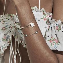 Ingemark Vintage Evil Blue Eye Star Bracelet Bangle for Women Femme Punk Imitation Pearl Bead Iron Chain Bracelet Couple Jewelry