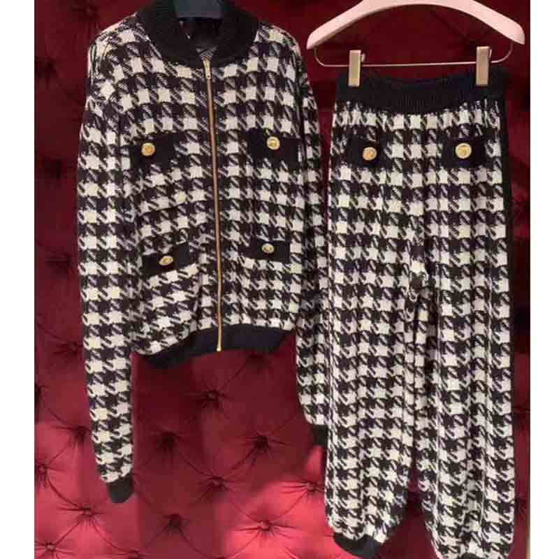Cosmicchic Women's Wool 2 Piece Knitted Suit Tracksuit Team Sports Set Classic Houndstooth Jacket Pants Elegant Casual Suit