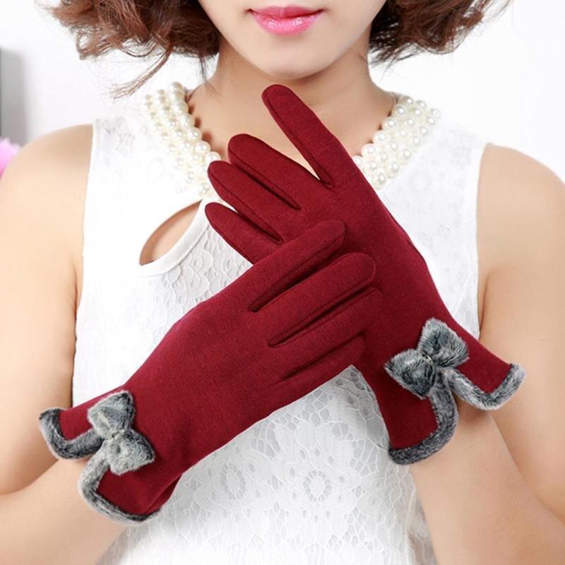 1pair Etiquette Gloves Elegant Velvet Ladies Knit Gloves Warm Thick Soft Cashmere Gloves For Phone Using Plush Gloves