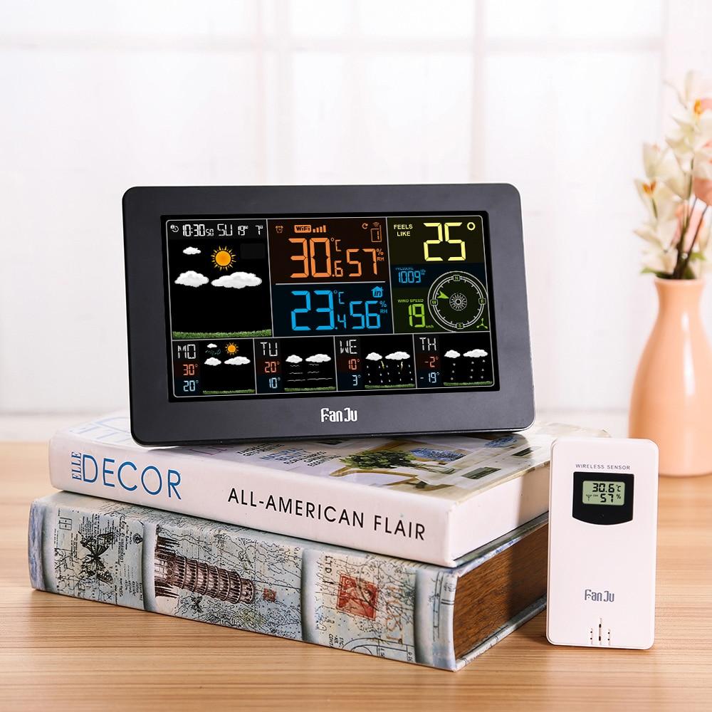 EU/US Plug Digital LCD Alarm Clock Weather Station wifi Temperature Humidity Pressure Wind Weather Forecast Intelligent Clock Pakistan