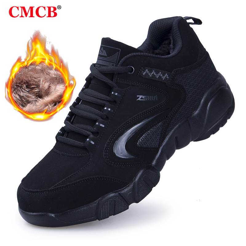 Winter Mens Warm Shoes Leather Women Male Work Hiking Breathable Light Air Sport Autumn Plush  High Quality Men Casual Shoes